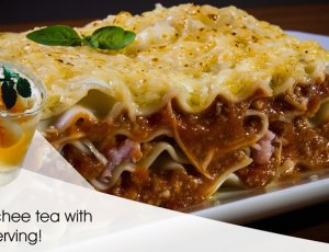 Beef Lasagna with Iced Lychee Tea for 1 Person at Double Durian